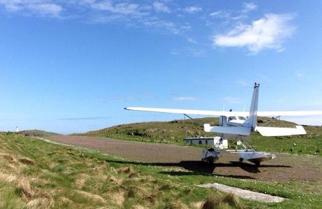 Pilot Hamish Mitchell's sea plane pictured in Skerries on Monday. Photo: Julie Arthur