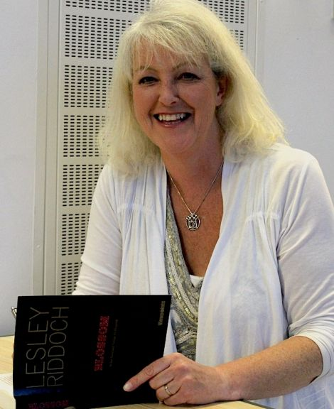Lesley Riddoch signing her book at the Shetland Museum and Archives on Tuesday evening - Photo: ShetNews
