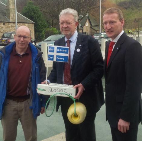 CURE secretary Gordon Thomson (left) in Edinburgh with education secretary Michael Russell and Shetland MSP Tavish Scott in March.