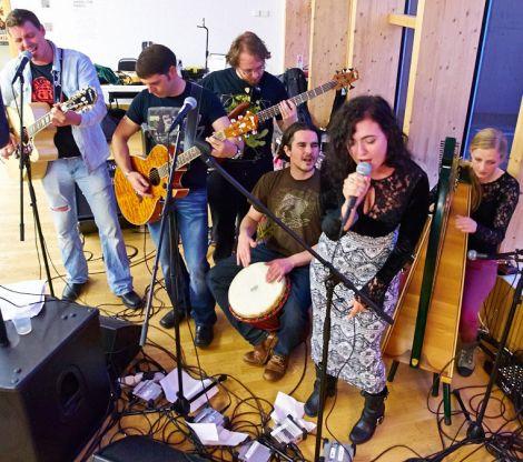 The Claire Thomason Experience - (from left) Magnus Bradley, Michael Anderson, Peter Keay, Rodrigo Ferrari Nunes, Claire Thomason and Kirsty North.