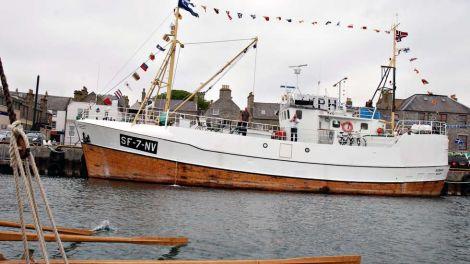 The restored fishing boat Nybakk in Lerwick on an earlier visit to the isles. Photo Kari Midtgård Råsberg