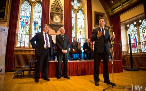 Prime minister David Cameron addressing around 100 invited guests in Lerwick town hall on Tuesday evening - Photo: Paul Shaw