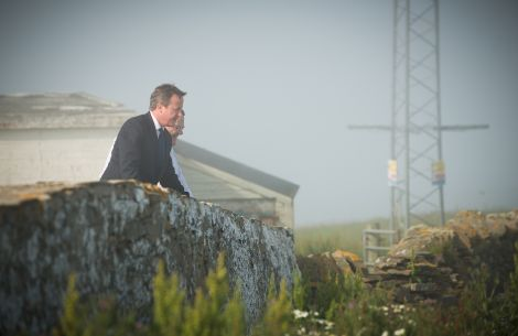 Birdwatching: Prime minister David Cameron and Shetland Amenity Trust manager Jimmy Moncrieff at Sumburgh on Tuesday afternoon - Photo: Paul Shaw
