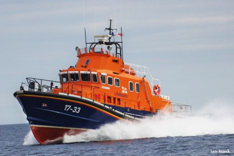 The relief Aith lifeboat 17-33 Beth Sell joined Thursday night's search for the missing woman while the main lifeboat is on refit. Photo Ian Leask