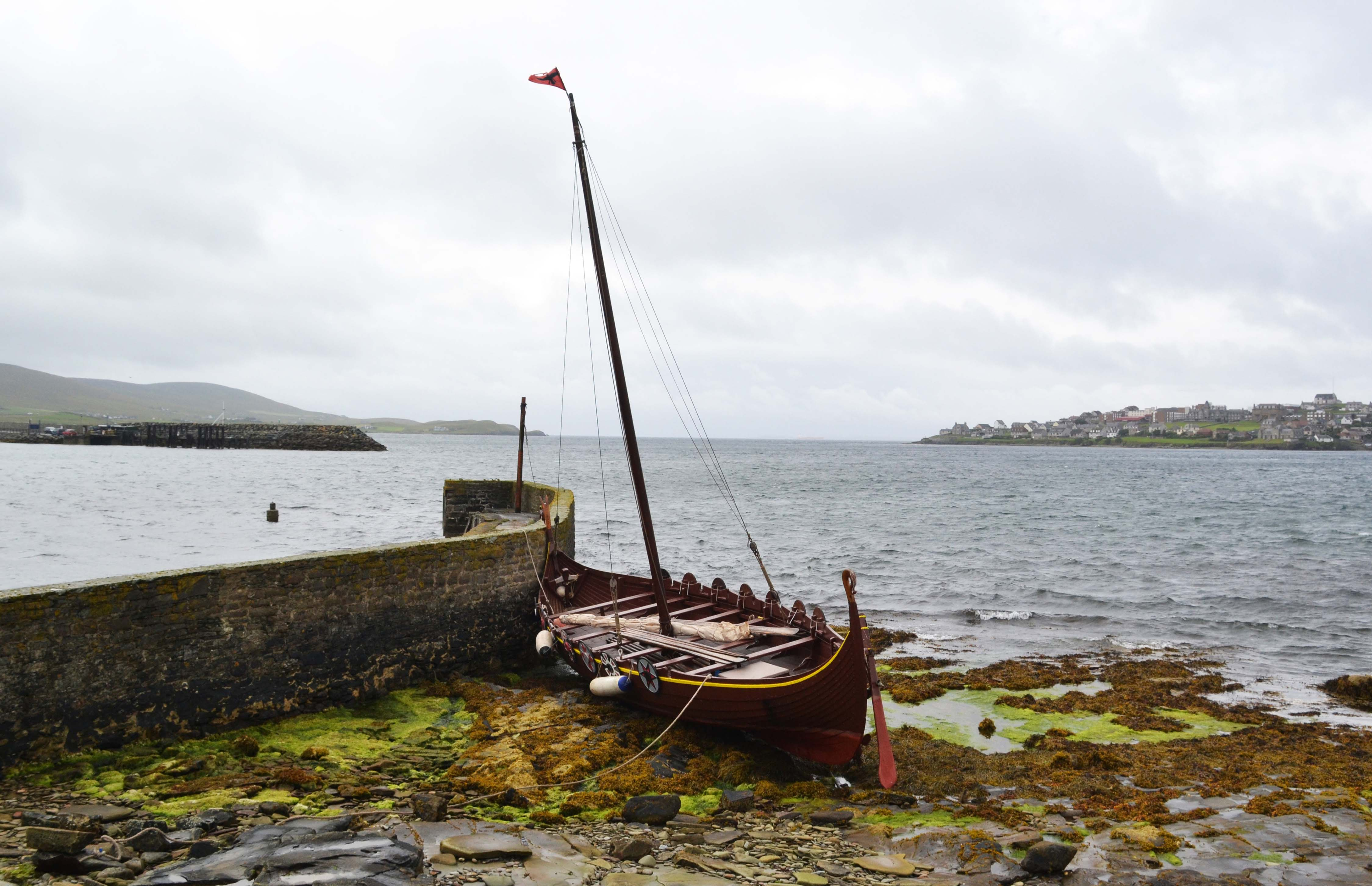 The replica Viking longship was towed back to Lerwick on Wednesday lunchtime. Photo: Charlie Umphray