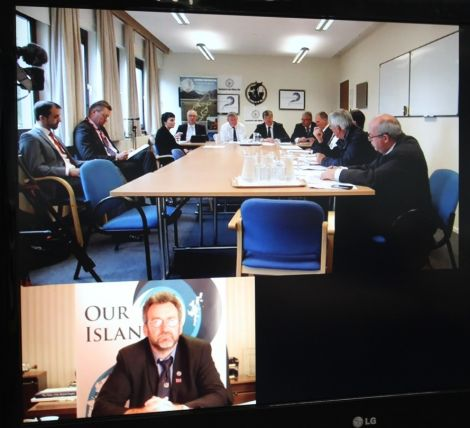 Alistair Carmichael launched the Framework for the Islands in Stornoway at a press conference beamed into Shetland College via video link. He sat between Western Isles Council leader Angus Campbell and Orkney islands Council chief executive Alistair Buchan. In the screen below OIC convener Steven Heddle was transmitting from Kirkwall.