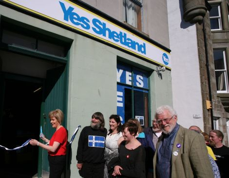 Nicola Sturgeon officially opening Yes Shetland's premises on Harbour Street. Photo: Douglas Young