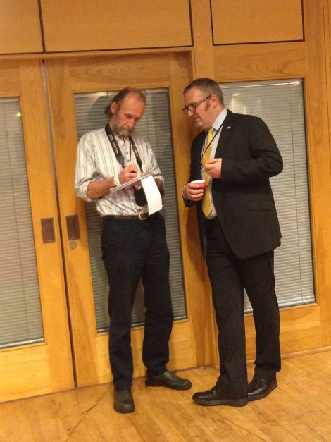 Gary Robinson offering his thoughts to Shetland News' Pete Bevington. Photo courtesy of BBC RadiO Shetland