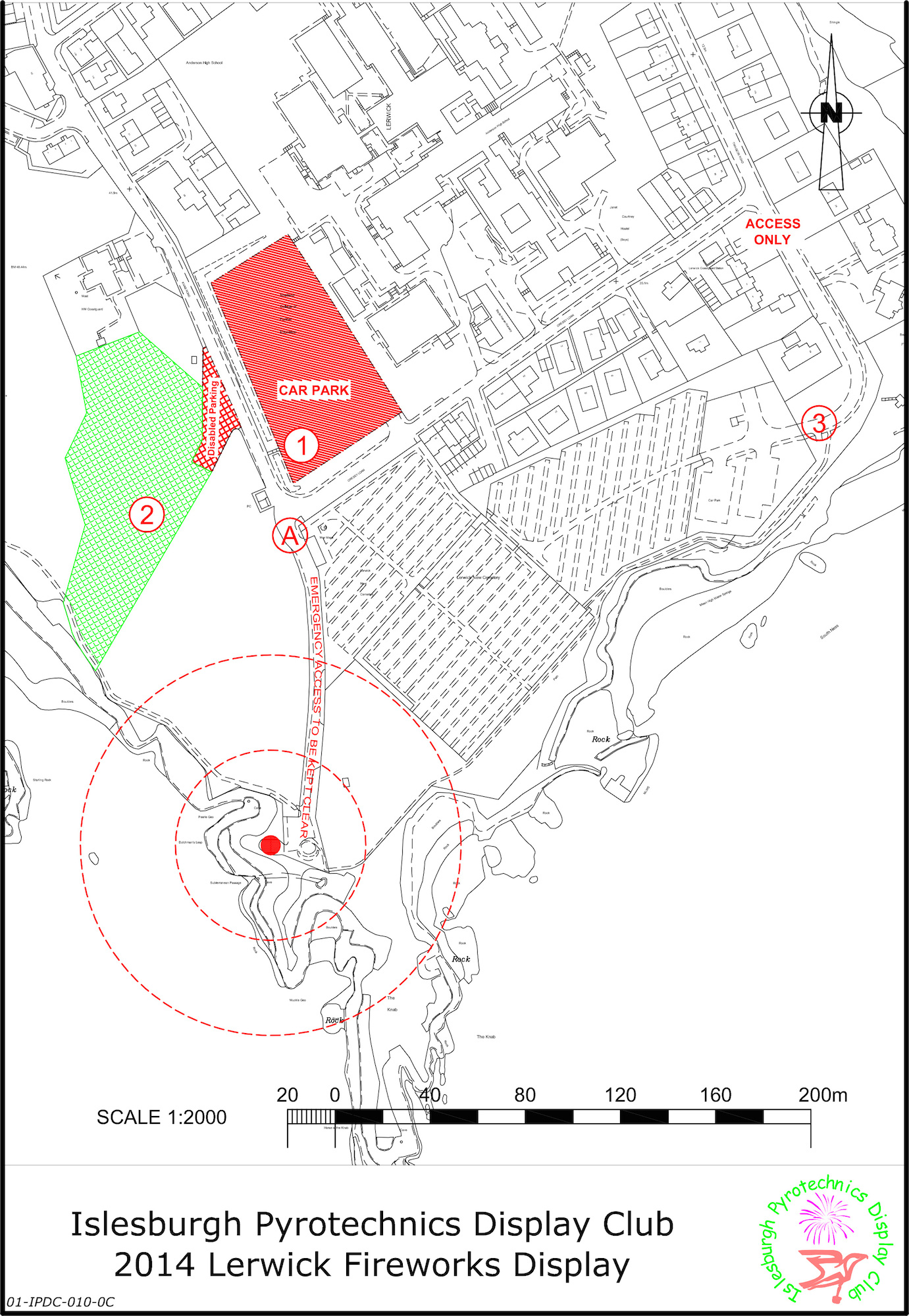 This year's fireworks display will be held at The Knab. See map for details.