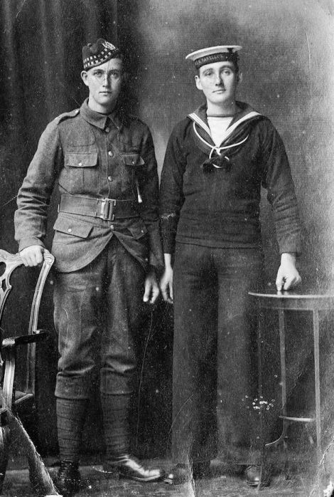 The Arthur brothers from Kirkigarth, Stromfirth, whose story is likely to be one of those explored by the WW1 project. Willie Arthur (left) was in the Gordon Highlanders, Jeemie served in the Royal Navy on HMS Vanellus. Photo Shetland Museum and Archives