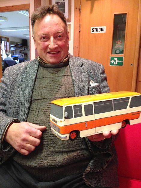Ian Smith o Troswick with a 1965 Bedford Vasi model bus. The original, nicknamed 'Half Loaf' belonged to Halcrows of Hamnavoe first and was then sold to Shalders.