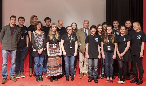 Meeting Don McCullin (right of centre) and Anthony D'Offay (left of centre) in London were (from left): Calum Toogood, Edward Hallam, Samuel McCormack, Liz Musser, Patrick Mainland, Jenny Brown, Kate Tyler, Elise Smith, Henry Hyndman, Iona Leask, Matthew Johnson, Cara Leask, Craig Meheut, Amber Grieve, Lewie Peterson, Emma Coote
