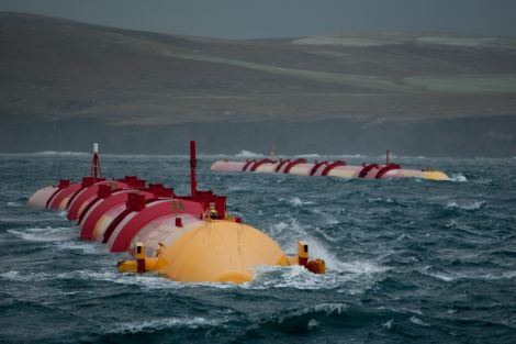 Not making waves. Two Pelamis wave generators being tested at the European Marine Energy Centre, off Stromness.