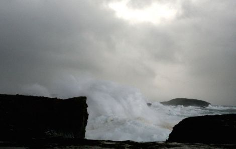 40 ft high waves battering the coastline at Scatness on Wednesday - Photo: Douglas Young