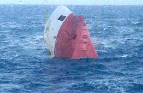 Passengers travelling on the Hrossey have been posting photos of the overturned Cemfjord.