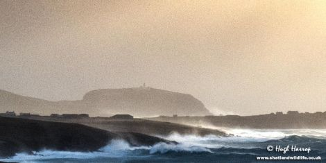The spectacular scene at Quendale and Sumburgh this morning as winds gusted up to 100mph. Photo: Hugh Harrop