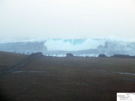 Stormy seas at Scatness on Monday. Photo: Diane Taylor