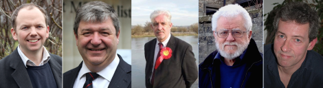 The five candidates (from left): Tory Donald Cameron, Lib Dem Alistair Carmichael, Labour's Gerry McGarvey, the SNP's Danus Skene and UKIP's Robert Smith.