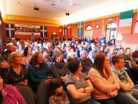 A busy Room 16 at Islesburgh for the traditional opening concert. Photo: Chris Brown
