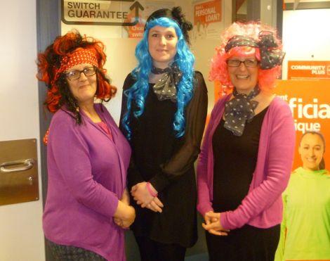 Janice Drummond, Kristi Hall and Shona Nicolson taking part in Wig Wednesday last year.