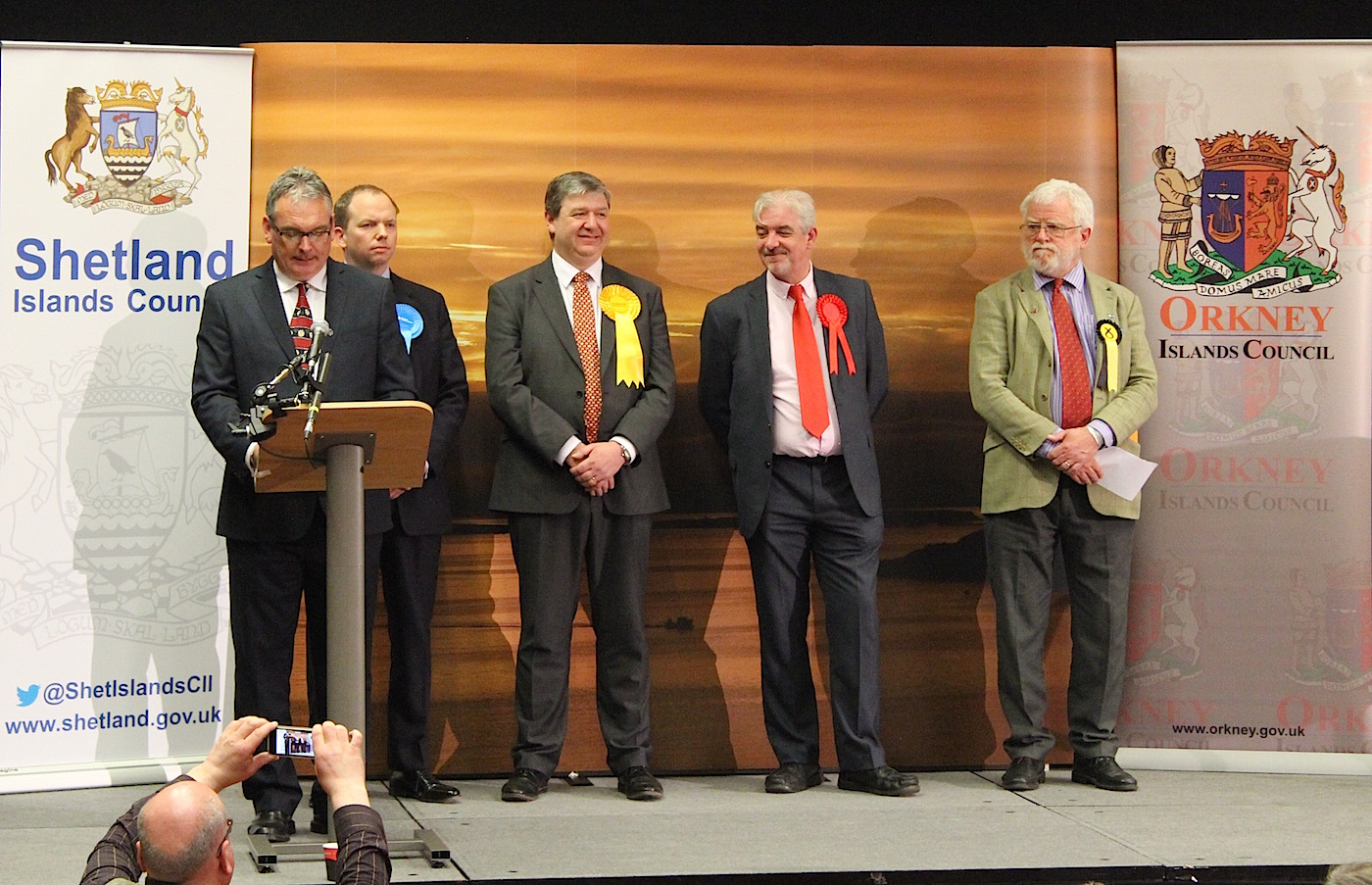 Alistair Carmichael beats SNP candidate Danus Skene (right) by 817 votes, a margin of three per cent compared to 51.3 per cent in 2010. Photo Shetnews
