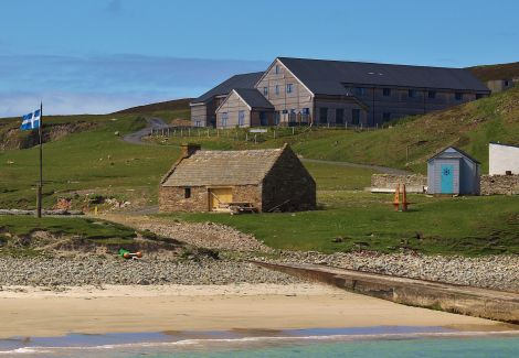 The new Fair Isle Bird Observatory seen from North Haven - Photo: FIBO