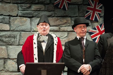Arthur Watt (left) and George Webster during the Tell Wiz performance in the Garrison - Photo: Malcolm Younger/Millgaet Media