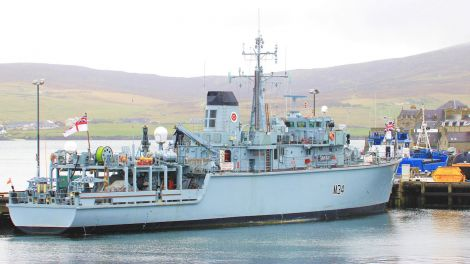 The mine hunter HMS Middleton arrived in Lerwick harbour on Thursday morning to participate in the celebrations - Photo: Ian Leask
