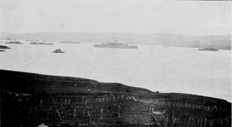 Merchant cruisers, colliers and tenders lying in Bustavoe around 1916.  A dozen ships can be seen - a tiny part of the blockade fleet that used the Navy base - Photo: Courtesy of Shetland Museum and Archives