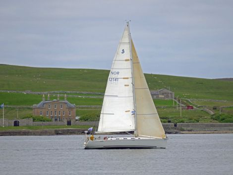Serenity in full sail reaching the line at Lerwick on Thursday evening - Photo: John Anderson