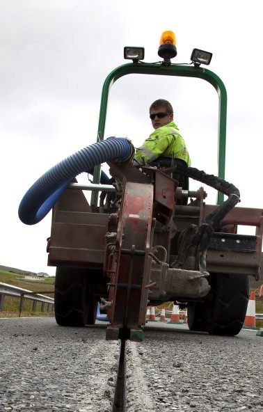 The 'ditch witch', which used microcutting technology to lay the fibre optic cable between Lerwick and Sandwick. Photo: Shetland Telecom