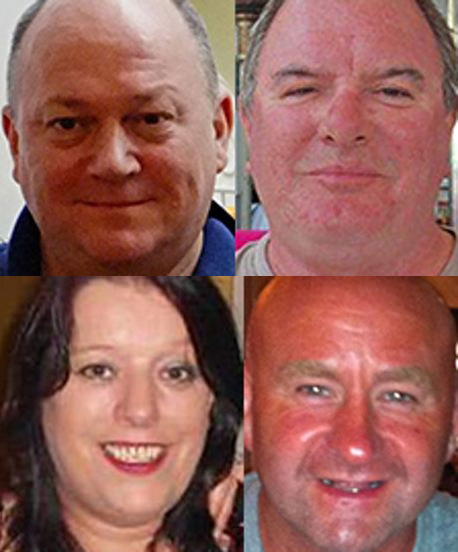 The four victims of the Super Puma crash in August 2013; clockwise from top left: George Allison, Gary McCrossan, Duncan Munro and Sarah Darnley.