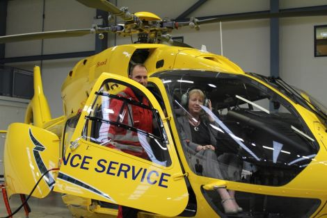 Health secretary Shona Robison trying out the new helicopter. Photo: Scottish Ambulance Service