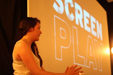 Local filmmaker Marjolein Robertson speaking during the Screenplay launch at Mareel on Tuesday night. Photo: Lauren Doughton