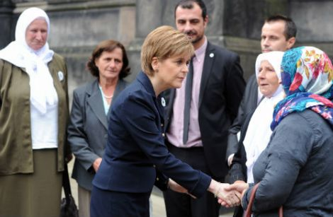 First Minister Nicola Sturgeon met with genocide survivors, Azir Asmanović and Nedžad Avdić, and with Srebrenica mothers, who lost husbands, sons, fathers and brothers in the atrocity. Photo: Scottish Government