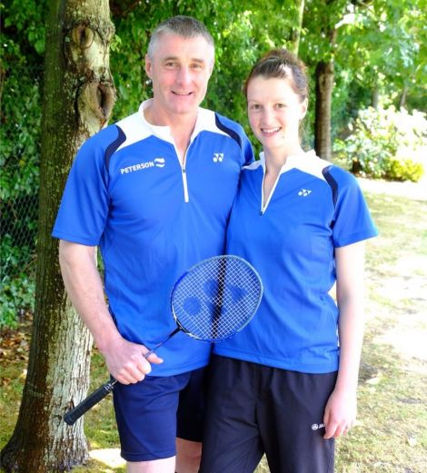 Badminton mixed doubles father and daughter Gordon Keith and Shona Mackay were surprised and delighted to win a silver medal. Photo: Shetland Island Games Association