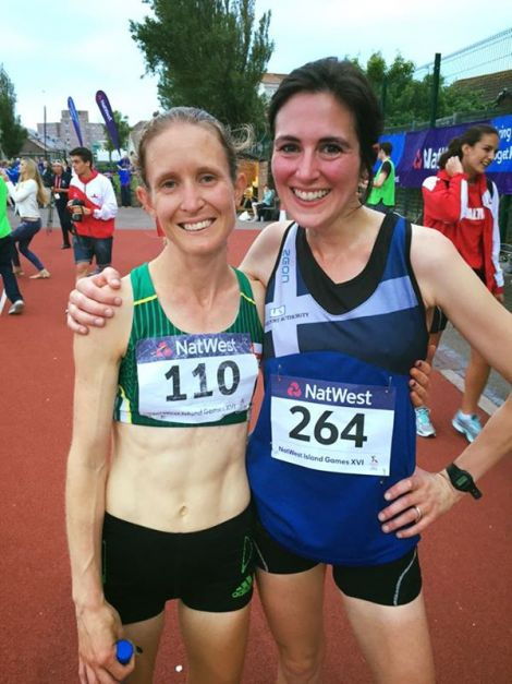 """This is why they call it the """"friendly games"""" - all smiles between Shetland's Michelle Sandison and Guernsey's Louise Perrio, who had just pipped her to bronze in the women's 10,000 metres. Photo: BBC Radio Shetland/Jane Moncrieff"""