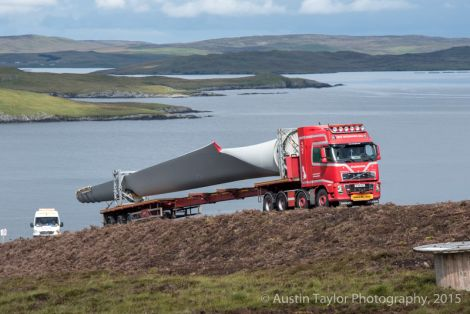 One of the blades of the 3MW Enercon E-82 E4machine arrives on site.