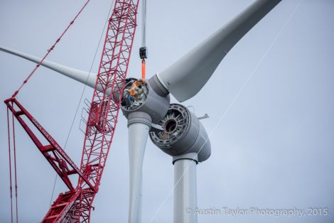The propeller section of the turbine is being lifted into position on Sunday - Photo: Austin Taylor