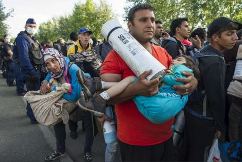 Some of the tens of thousands of refugees fleeing Syria and the Middle East, pictured in Hungary. Photo: UNHCR/M.Henley
