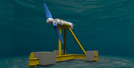 An image of the new Nova M100 tidal turbine being prepared for installation off Yell. Image Nova Innovation