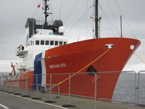 The Herakles tug, usually based in Kirkwall, provides cover around the Northern Isles.