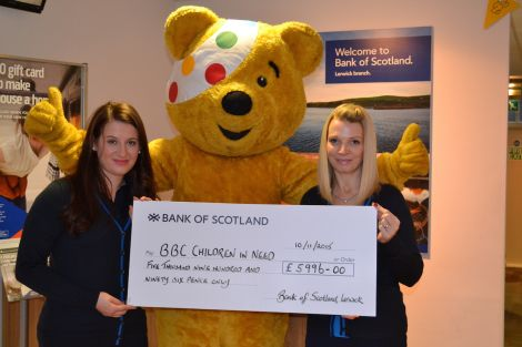 Gillian Moncrieff and Sara Polak of the local branch of the Bank of Scotland presenting a cheque for almost £6,000 - all photos BBC Radio Shetland.