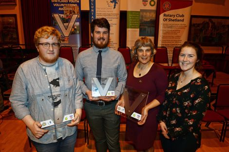 Award winners: Ruaridh Nicolson, of Sandwick Youth Club Dream Team, individual winner Toby Sandison, with Alex Dodge and Kirsty Budge, of Cunningsburgh and District Agricultural Society. Photo Dave Donaldson