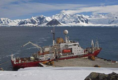 A BAS ship at the Rothera station's pier in Antarctica.