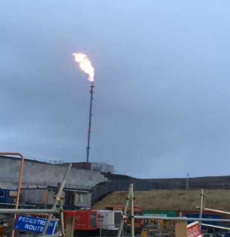 A photo of the gas plant flare stack lit for the first time on Thursday morning.