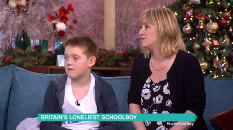 Skerries boy Aron Anderson and mum Denise on ITV's This Morning.