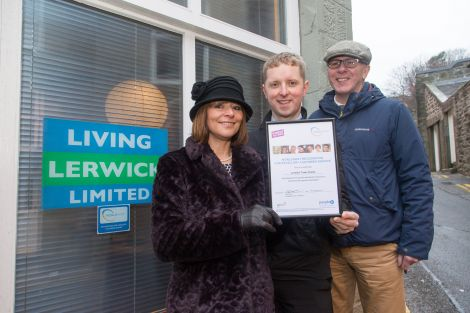(L-R): Living Lerwick chair Cynthia Adamson, director Ben Mullay and vice-chair Steve Mathieson.
