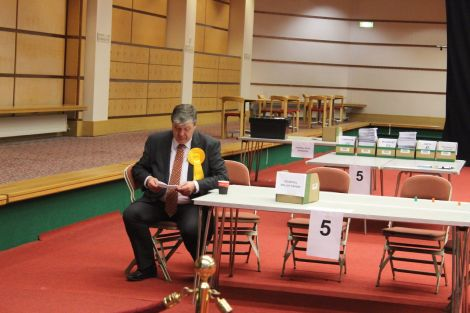 Alistair Carmichael at May's election count, where he retained his seat on a much-reduced majority of 817 votes. Photo: Shetnews