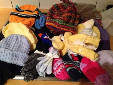 The woolly hats, gloves, scarves and jumpers are bound for the Idomeni transit camp on the Greek-Macedonian border.